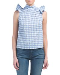 Tj Maxx - Made In Usa Gingham Maden Ruffled Top - Lyst