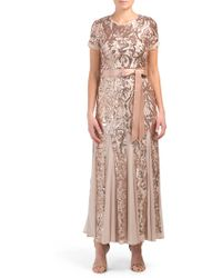 Tj Maxx - Petite Short Sleeve Gown With Sequins - Lyst