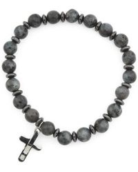 Tj Maxx - Men's Genuine Labradorite Cross Stretch Bracelet - Lyst