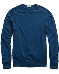 John Smedley - John Smedley Hatfield Cotton Crewneck Sweater In Indigo - Lyst