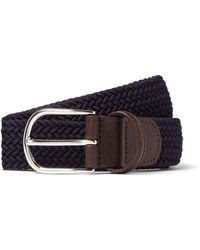 Andersons - Leather Stretch Woven Belt In Navy - Lyst