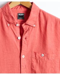 Todd Snyder - Slim Fit Linen Button-down Shirt In Nantucket Red - Lyst