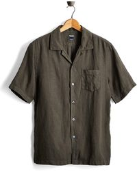 Todd Snyder - Short Sleeve Linen Camp Collar Shirt In Olive - Lyst