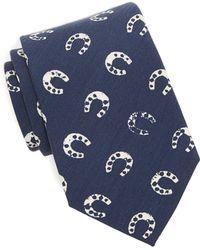 Drake's   Silk Navy Horseshoe Tie   Lyst