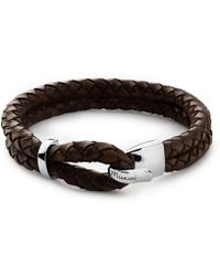 Miansai - Beacon Brown Leather Bracelet In Sterling Silver - Lyst
