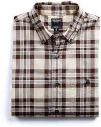 Todd Snyder - Cotton Poplin Button Down Collar Shirt In Brown Plaid - Lyst