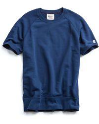 Todd Snyder - Short Sleeve Sweatshirt In Marine Blue - Lyst