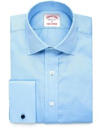 Hamilton | Solid Pique French Cuff Shirt In Blue | Lyst