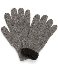 Drake's - Drakes Natural Donegal Knit Tipped Gloves - Lyst