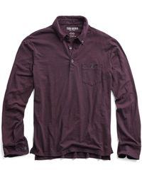 Todd Snyder - Made In L.a. Slub Jersey Long Sleeve Polo In Burgundy - Lyst