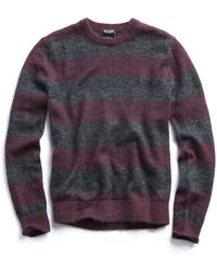 Todd Snyder - Italian Brushed Wool Crewneck Sweater In Charcoal/plum - Lyst