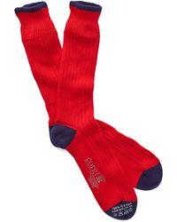 Corgi - Color Block Socks In Red - Lyst
