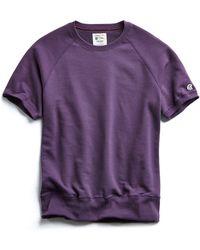 Todd Snyder - Terry Short Sleeve Sweatshirt In Plum Royale - Lyst