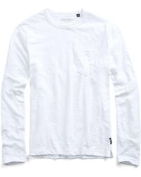 Todd Snyder - Garment Dyed Long Sleeve Pocket Tee In White - Lyst