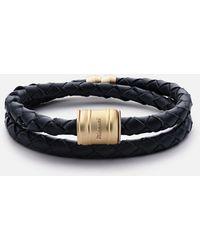 Miansai - Leather Matte Gold Casing Bracelet - Lyst