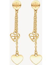 Tommy Hilfiger - Gold-plated Heart Dangle Earrings - Lyst