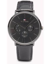 Tommy Hilfiger - Dane Black Leather Watch - Lyst
