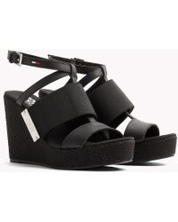 Tommy Hilfiger - Leather Wedge Sandals - Lyst