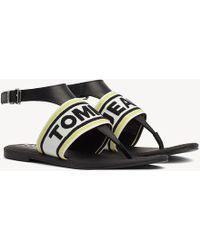 cf694ed3341643 Tommy Hilfiger - Webbing Logo Flat Sandals - Lyst