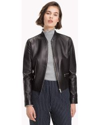 Tommy Hilfiger - Collarless Leather Jacket - Lyst