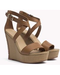 Tommy Hilfiger - Studded Leather Wedge Sandals - Lyst