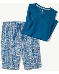 Lyst - Tommy Bahama Cotton Modal Knit Lounge Jams (black Heather ... 4d9538ca4