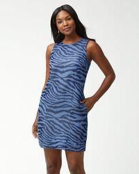 6d9b8fd256 Lyst - Tommy Bahama Pearl Split-neck Swim Dress in Blue