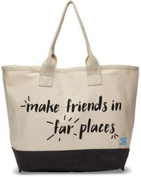 TOMS - Natural Make Friends In Far Places All Day Tote - Lyst