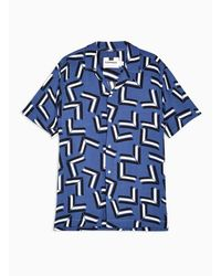 TOPMAN Blue Chevron Slim Shirt - Azul