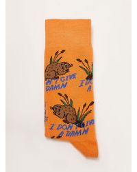 TOPMAN - Orange 'give A Damn' Sock - Lyst