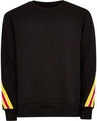TOPMAN - Black Back Taping Sweatshirt - Lyst