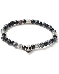 Topman | Black Bead And Skull Bracelet | Lyst