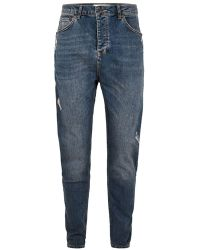TOPMAN - Mid Wash Drop Crotch Jean - Lyst