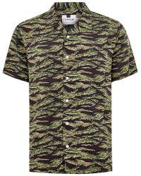 TOPMAN - Khaki Camouflage Tiger Short Sleeve Shirt - Lyst