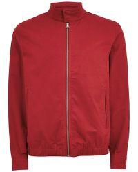 TOPMAN - Red Side Stripe Harrington Jacket - Lyst