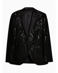 TOPMAN - Black Sequin Skinny Blazer - Lyst