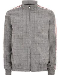 TOPMAN - Dark Grey Checked Side Stripe Harrington Jacket - Lyst