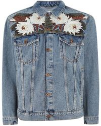 TOPMAN - Blue Embroidered Oversized Denim Jacket - Lyst