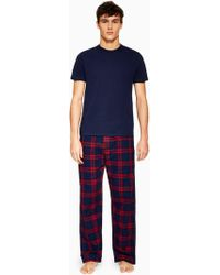 TOMS - Navy T-shirt And Check Bot Loungwear Set - Lyst