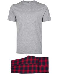 TOMS - Red And Navy Check Pyjama Set - Lyst