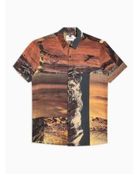 TOPMAN - Brown Digital Print Slim Shirt - Lyst