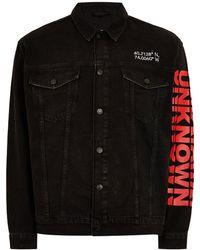 TOPMAN - Oversized Printed Denim Jacket - Lyst