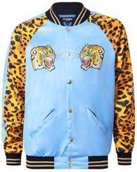 Jaded - Blue And Leopard Print Tiger Print Bomber Jacket* - Lyst