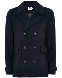 TOPMAN - Navy Pea Coat With Wool - Lyst
