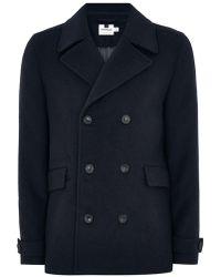 TOPMAN - Navy Pea Coat With Wool - Lyst