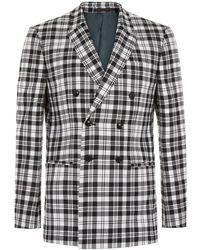 TOPMAN - Locharron X Black And White Tartan Double Breasted Skinny Suit Jacket - Lyst