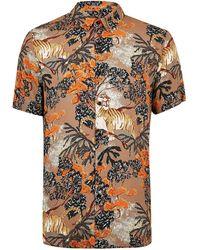 ed84867cbf53 Lyst - Topman White and Burgundy Floral Print Short Sleeve Shirt in ...
