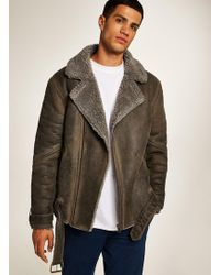 TOPMAN - Tan Overdyed Faux Shearling Biker Jacket - Lyst