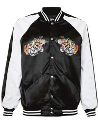 Jaded - Black And White Tiger Print Souvenir Jacket - Lyst