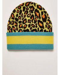TOPMAN - Leopard Print Stripe Skater Beanie - Lyst